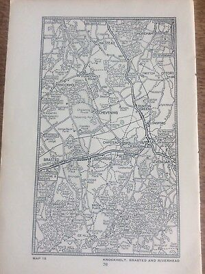 Knockholt Brasted Riverhead Shoreham c1920 Map London South of the Thames 7x4""