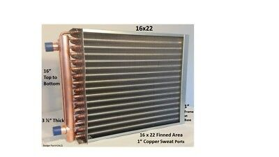 """16x22  Water to Air Heat Exchanger 1"""" Copper Ports with install kit"""