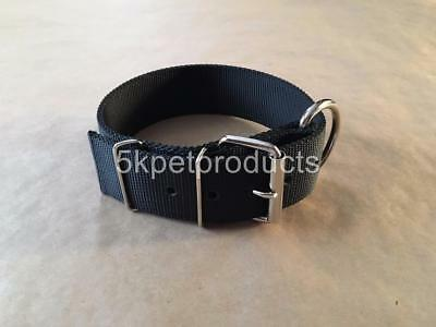 """Large Dog Collar 2"""" Wide Double Ply Nylon Pit Bull Collar Heavy Duty Made In Usa"""