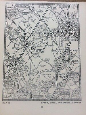 Epsom Ewell Banstead Downs c1920 Map London South of the Thames 5x4""