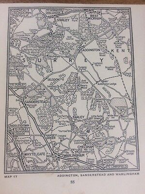 Aldington Sanderstead Warlingham c1920 Map London South of the Thames 5x4""