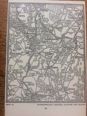 Farnborough Keaton Cudham Downe c1920 Map London South of the Thames 5x4""