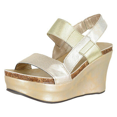 0fa70291f6b PIERRE DUMAS HESTER-8 Gold Womens Wedge Sandals Size 10M -  10.07 ...