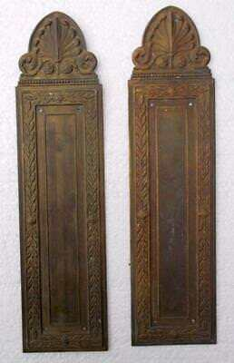 Stylish Pair of Vintage French Brass Door Finger Plates #B