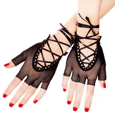 Dance Costume Adult Lady Short Hollow Mesh Fingerless Gloves Party Fishnet