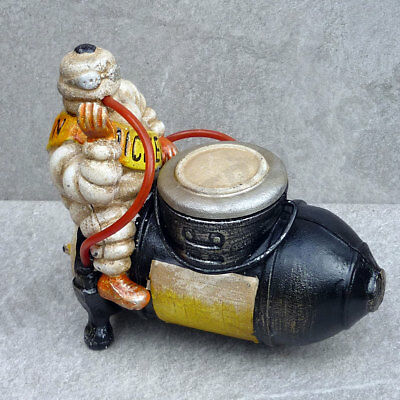 MICHELIN MAN COMPRESSOR FIGURE DESK TIDY Vintage Style Cast Iron Bibendum Model