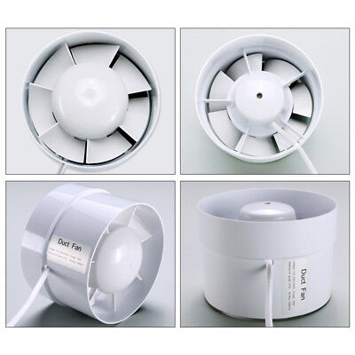 "Plastic 4-6"" Duct Fan Exhaust Vent Air Cooled Hydroponic Inline Blower White"