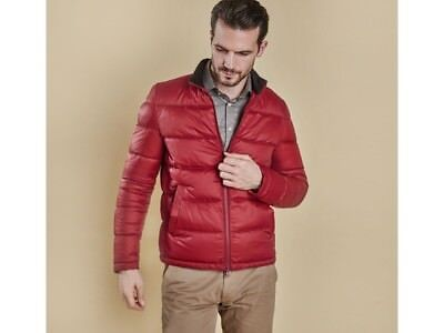 Men's Barbour Red Leven Quilted Classic Tartan Nylon Jacket Coat Size M