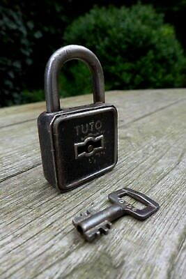 Vintage Antique TUTO Padlock Logo Working Order Collector 03-01
