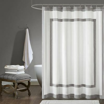 Deluxe White Charcoal Grey Border Cotton Fabric Shower Curtain