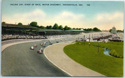 "c1940s INDY 500 Auto Racing Postcard ""PACING LAP, START OF RACE"" Linen Unused"