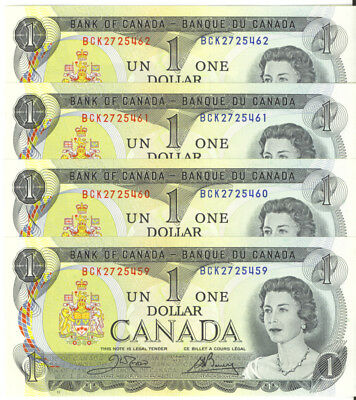 Bank of Canada 1973 $1 One Dollar Lot of 4 Consecutive Notes AU+/UNC Crow- Bouey