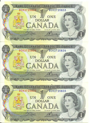 Bank of Canada 1973 $1 One Dollar Lot of 3 Consecutive Notes AU++/UNC