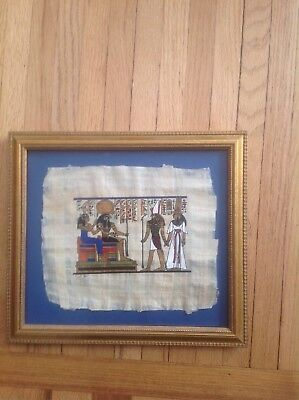 Egyptian Papyrus Hand Painted Framed Art Nefetari, Horus, Raharakht and Hathor
