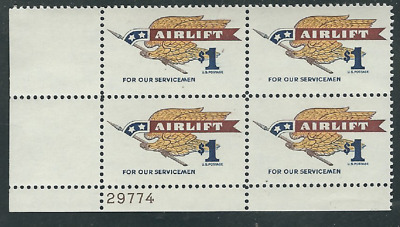 Scott #1341....$1.00....Airlift....Plate Block...4 Stamps