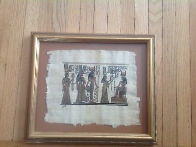 Egyptian Papyrus Hand Painted Framed Art Gold highlights
