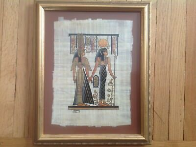 Egyptian Papyrus Hand Painted Framed Art Hathor and Queen Nefertari