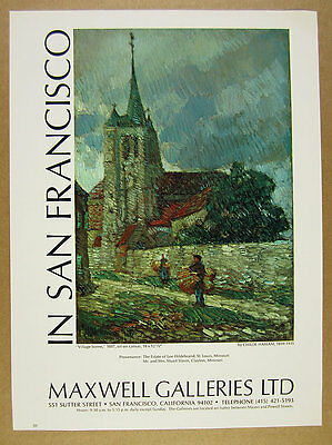 1970 Childe Hassam 'Village Scene' painting Maxwell Galleries vintage print Ad