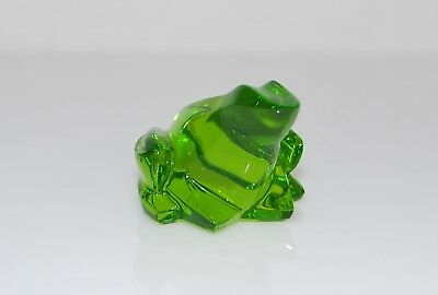 Rare Baccarat Green Crystal Frog Paperweight - Small Size - Signed