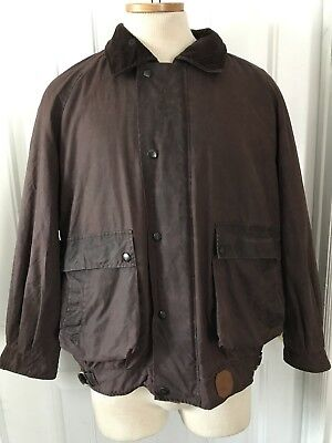 "Burberry Vintage"" Blue Tag "" Mens Brown Cotton Wax Bomber Jacket L"