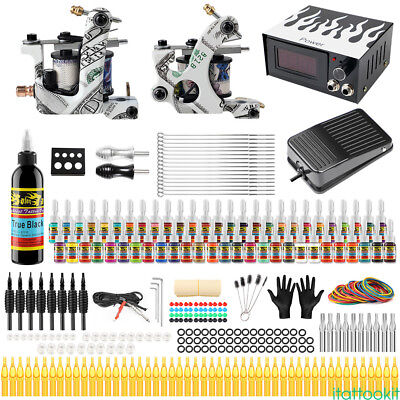Complete Tattoo Kit Set 2 Tattoo Machine Gun 54 Ink Power Supply Needles TK252