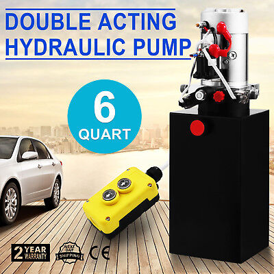 Hydraulic Double Acting Pump 12V 6qt Tank Metal Reservoir Without Remote Pop