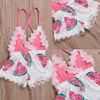 US Infant Toddler Baby Girl lace Romper Jumpsuit Bodysuit Sunsuit Outfit Clothes
