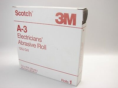 NEW Box Scotch 3M A-3 Electricians' Abrasive Roll 120J Grit, 1'' x 75' (B479)