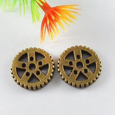 Vintage Bronze Alloy Gear Wheel Shaped Charms Pendants Crafts Findings 19x 51671