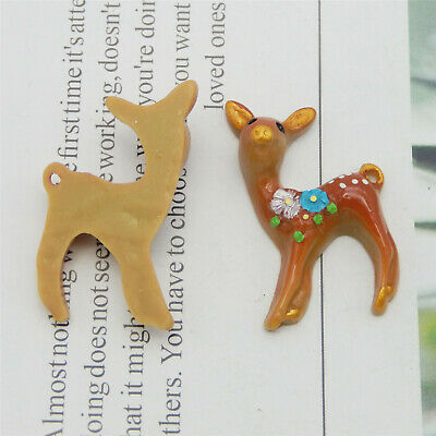 10pcs Resin Mini Khaki Sika Deer Charms Pendant Crafts Jewelry Making 52166