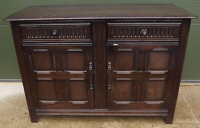 Vintage Small Solid Oak Two-Door Sideboard Cupboard In The Antique Style