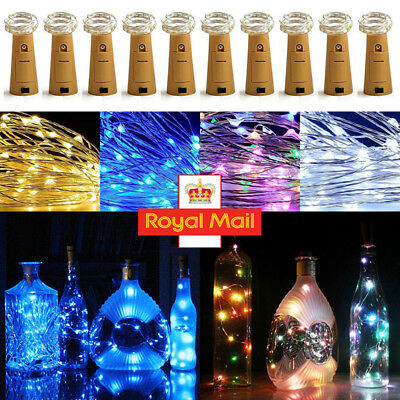 LED String Battery Operated Copper Wine Bottle Wire Fairy Lights Party Valentine