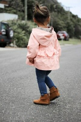 *NEW* Girls | Baby Winter Coat Ruffle Jacket Grey Dot Lining