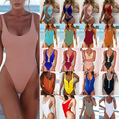 Womens Swimming One Piece Swimsuit Swimwear Monokini Bikini Push Up Bra Bathing