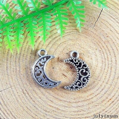 Vintage Silver Alloy Mini New Moon Charms Jewelry Crafts Findings 48x 51211