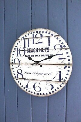 Blue and Antique White Wall Clock Vintage Shabby Chic Beach Hut Design