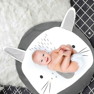 Large Round Cartoon Rabbit Carpet Gym Rug Baby Infant Play Room Crawl Game Mat
