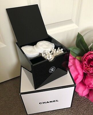 BN Chanel Acrylic Cotton Pad Box Holder Cosmetic Box Vanity Organizer storage