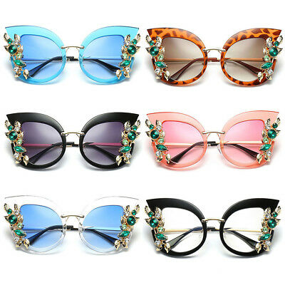 Crystal Rhinestone Cat Eye Flower Sunglasses Vintage Womens Eyeglasses Eyewear