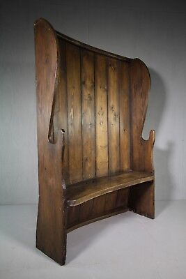 Welsh 19th Century Antique Pine Settle.