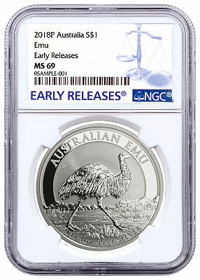 2018-P Australia 1 oz. Silver Emu $1 Coin NGC MS69 ER Early Release SKU52830