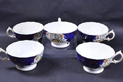 5x Cups Gaudy Welsh China c1900 Hand Painted Tulip Pattern Staffordshire