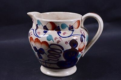 Gaudy Welsh Milk Creamer Jug China c1900 Tulip Pattern Staffordshire