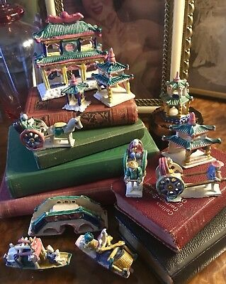 Collection Of 12 Antique Vintage Miniature Statues Chinese Figurines Asian Ceram