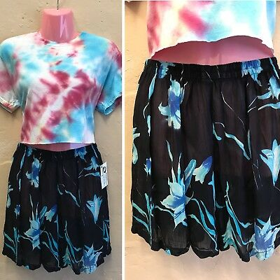 SIZE 6 8 10 – VINTAGE HIGH WAISTED SHEER SHORTS BLUE FLORAL 90s STRETCHY (st1)