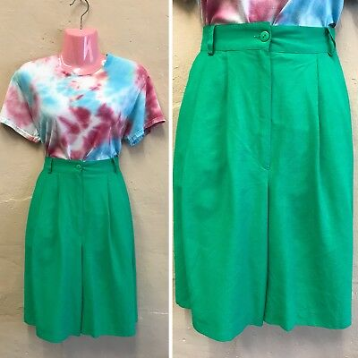 """SIZE 8-10– VINTAGE HIGH WAISTED SHORTS / CULOTTES IN PLAIN GREEN 80s W27"""" (st7)"""