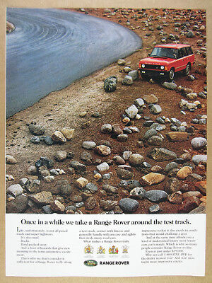 1992 Range Rover Classic off-road rocks photo vintage print Ad