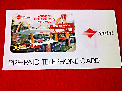 "40th Anniversary ""McDonald's"" PhoneCard 1955-1995' w/env -  Red Writing 50 Min"