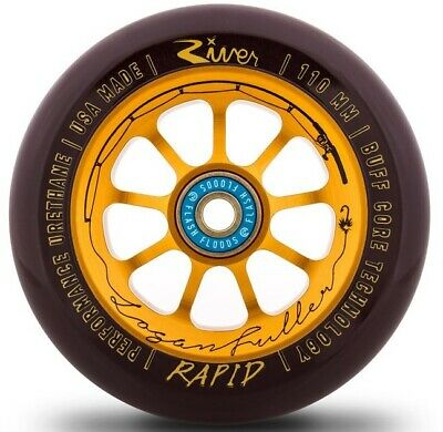 River Rapid 110mm Wheel Stunt-Scooter Rolle (Logan The Angler sign ) Gold/Pu Cho