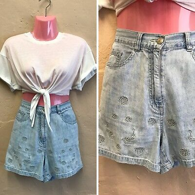 SIZE 10-12– VINTAGE HIGH WAISTED DENIM SHORTS BLUE FLOWER EMBROIDERY 90s (st10)